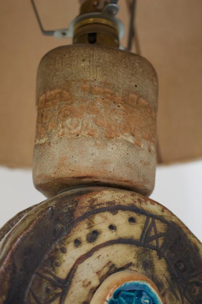 English Bernard Rooke Studio Ceramic TOTEM Lamp with Original Shade, England, 1960s
