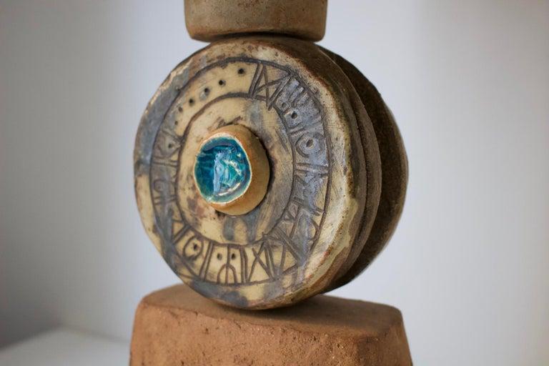 Hand-Crafted Bernard Rooke Studio Ceramic TOTEM Lamp with Original Shade, England, 1960s