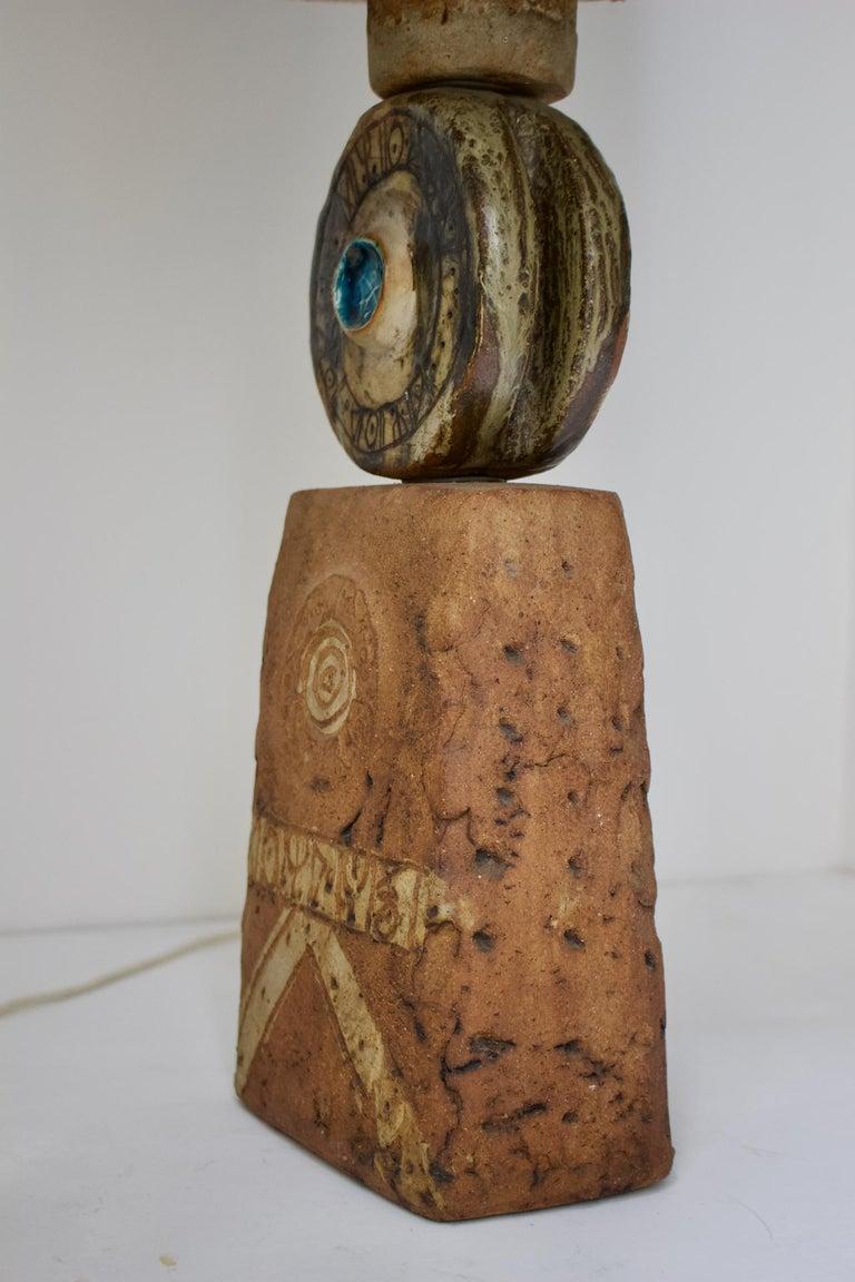 Metal Bernard Rooke Studio Ceramic TOTEM Lamp with Original Shade, England, 1960s