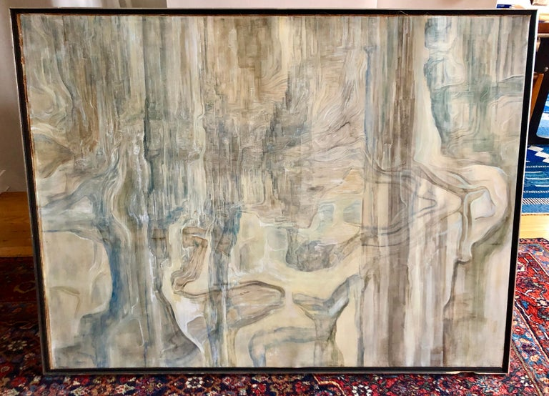 Surrealist landscape abstract, oil on paper laid on stretched linen, signed