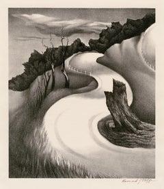 S Curve —WPA era lithograph