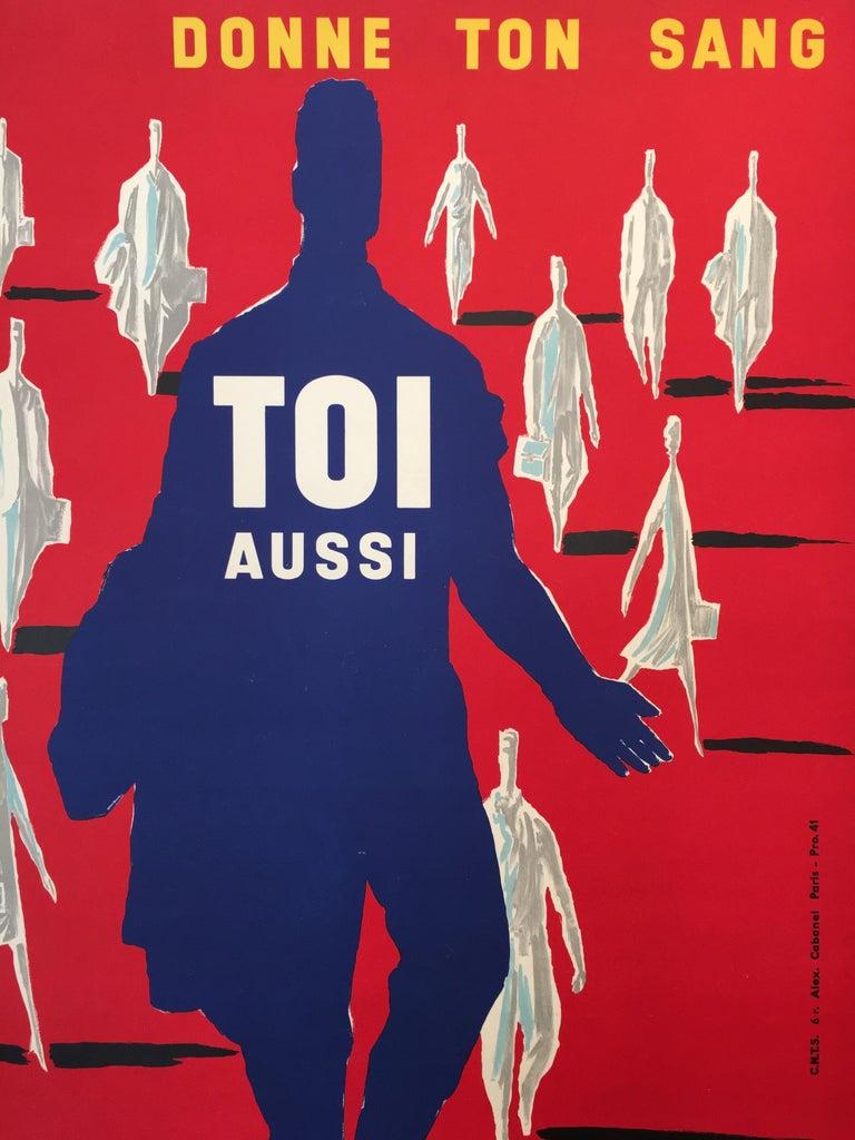 Bernard Villemot Original Vintage Poster Donne Ton Sang Toi Aussi, 1955 For Sale 3
