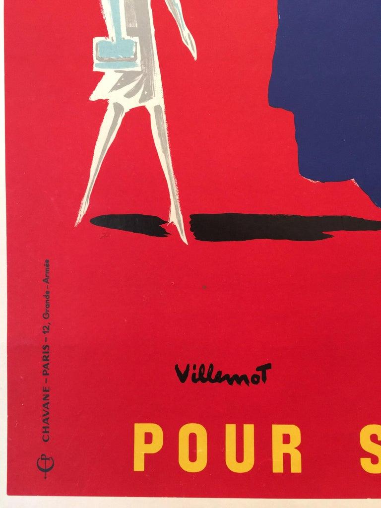 International Style Bernard Villemot Original Vintage Poster Donne Ton Sang Toi Aussi, 1955 For Sale