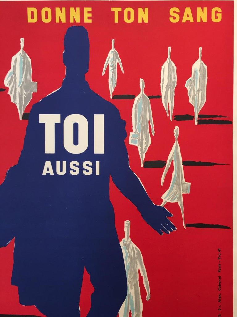 French Bernard Villemot Original Vintage Poster Donne Ton Sang Toi Aussi, 1955 For Sale