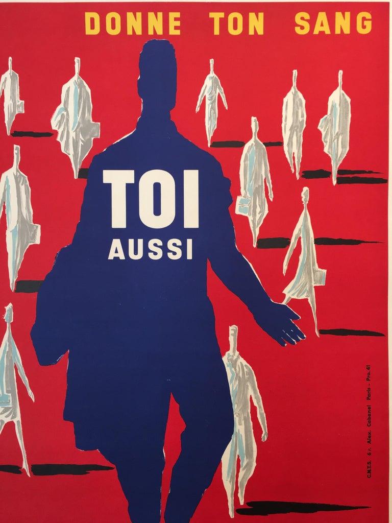 Bernard Villemot Original Vintage Poster Donne Ton Sang Toi Aussi, 1955 In Good Condition For Sale In Melbourne, Victoria