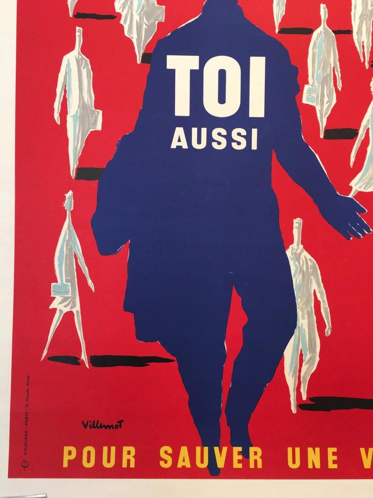 Mid-20th Century Bernard Villemot Original Vintage Poster Donne Ton Sang Toi Aussi, 1955 For Sale