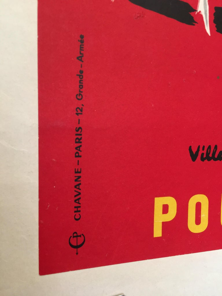 Paper Bernard Villemot Original Vintage Poster Donne Ton Sang Toi Aussi, 1955 For Sale