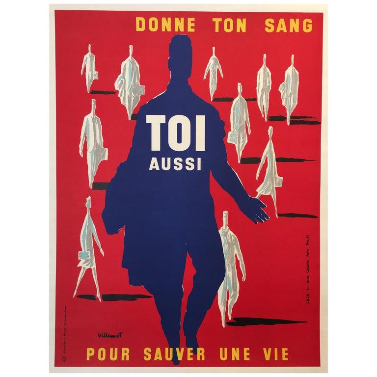 Bernard Villemot Original Vintage Poster Donne Ton Sang Toi Aussi, 1955 For Sale