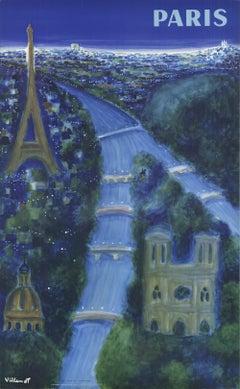 1967 After Bernard Villemot 'Paris' Vintage Blue,Green,Yellow France Lithograph