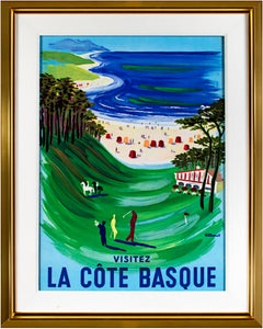 'La Côte Basque' original lithograph travel poster with beach and golf