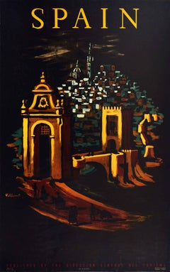 Original Vintage Travel Poster For Spain - Walled City Gate Night View Artwork