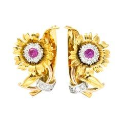 Bernard Weber Retro 1.13 Carat Ruby Diamond Platinum-Top Flower Ear-Clip Ea