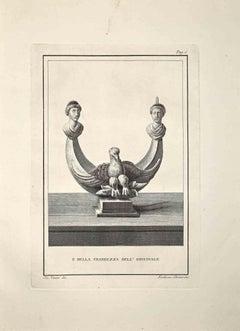 Ancient Roman Bust - Etching by Bernardino Nolli - Late 18 Century