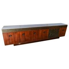 Bernardo Figueiredo Long Brazilian Rosewood Sideboard & Dry Bar with Onyx Top