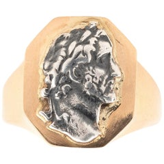 Bernardo Gold and Roman Emperor Cameo Silver Ring