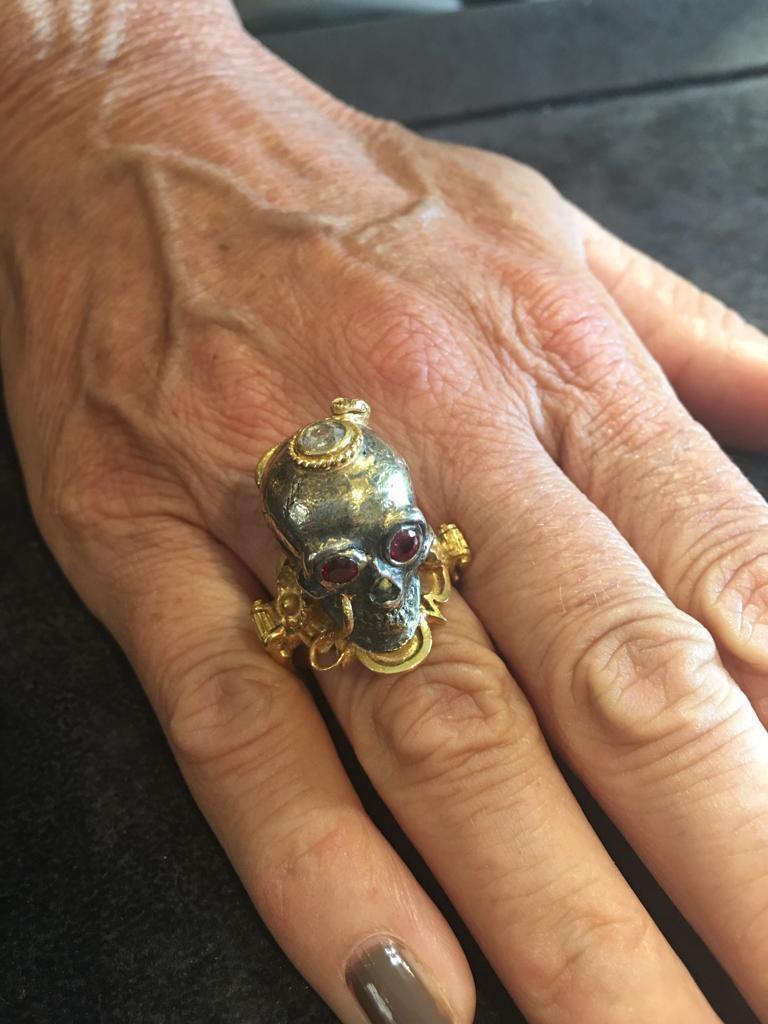Bernardo Large Gold Silver Diamond and Ruby Skull Ring For Sale 1