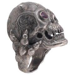 Bernardo Silver and Rubies Eyes Devil Skull Ring
