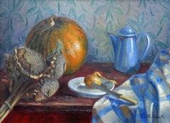 Still life with blue coffee pot. 1978. Oil on cardboard, 45.5x61.5 cm