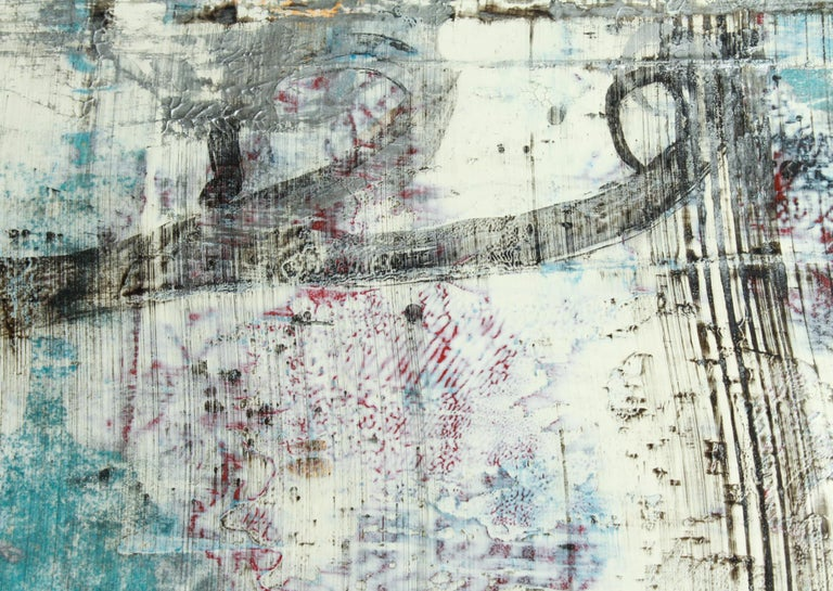 German abstract mixed-media on paper, untitled, created by Bernd Haussmann (German, b. 1957), signed initialed and dated in the lower left corner