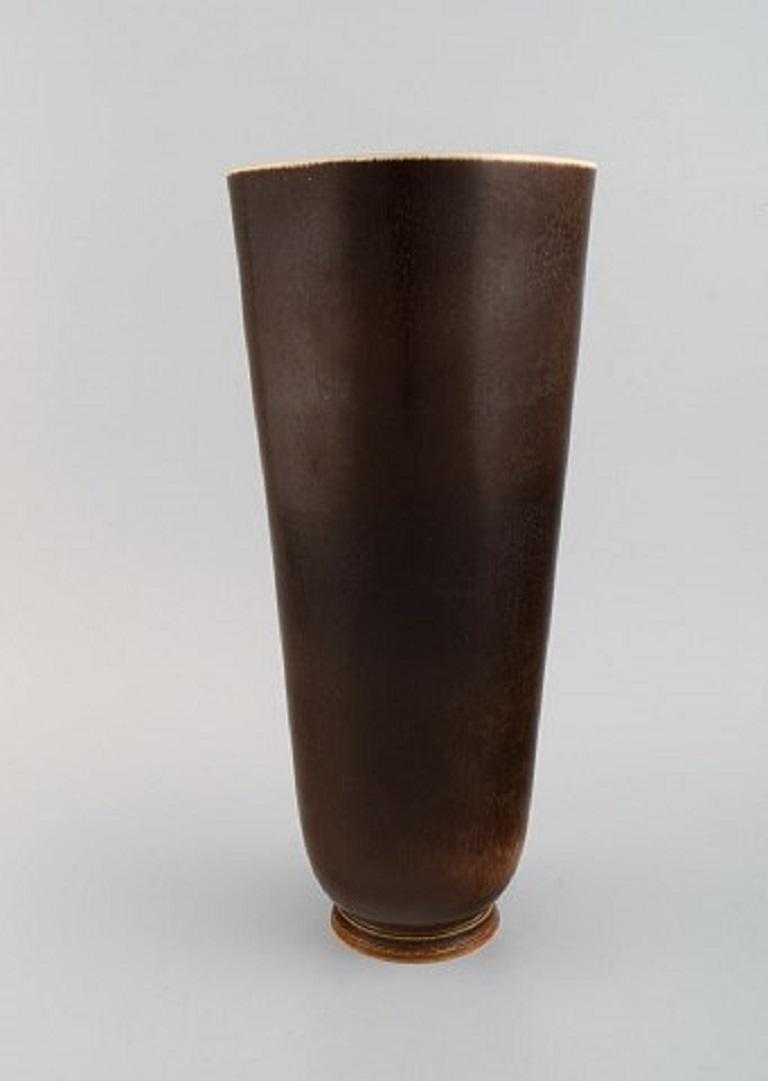 Scandinavian Modern Berndt Friberg for Gustavsberg Studiohand, Large Vase in Glazed Stoneware For Sale