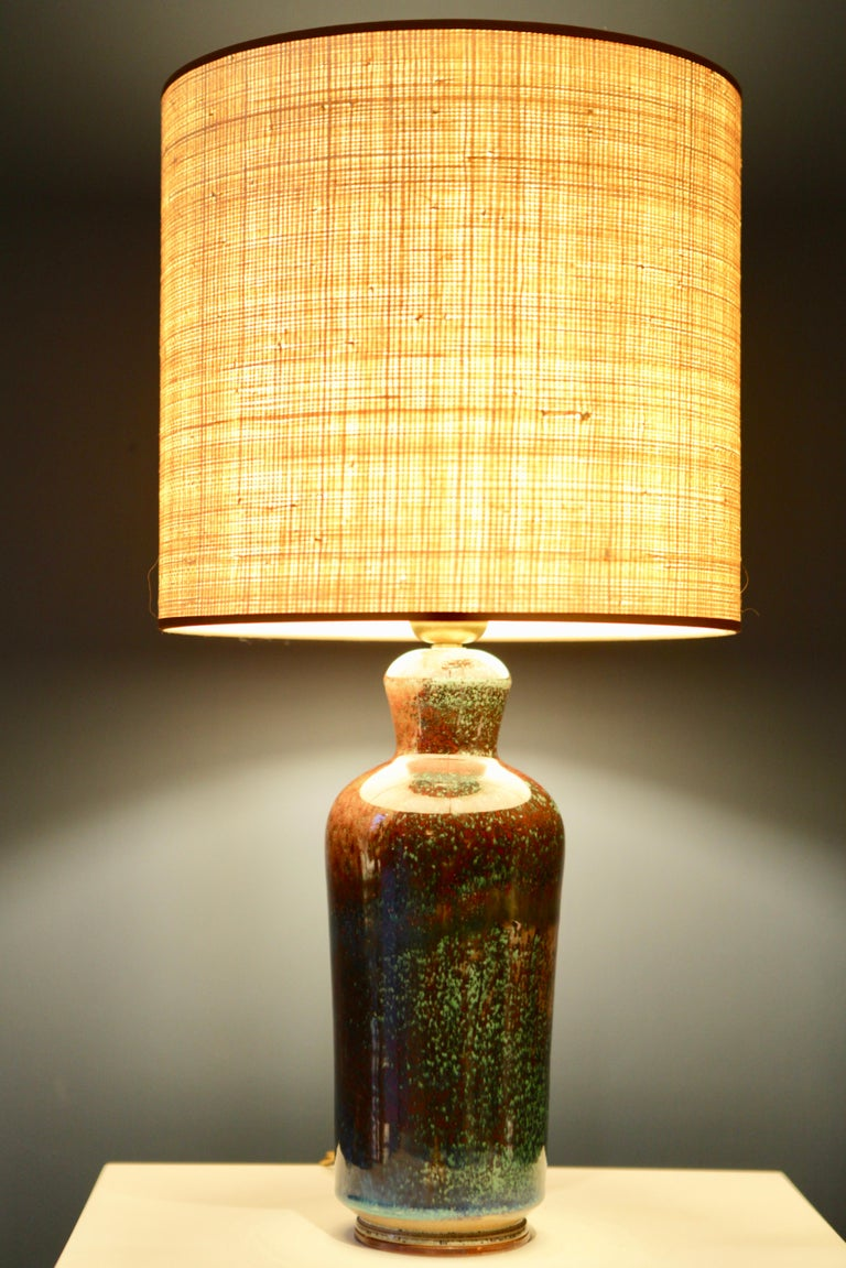 Berndt Friberg, green, turquoise and brown glazed stoneware table lamp,