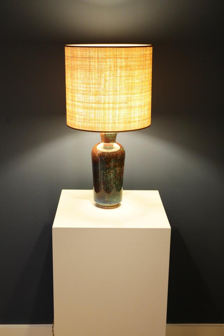 Scandinavian Modern Berndt Friberg, Glazed Stoneware Table Lamp, Gustavsberg Studio, Sweden, 1960s For Sale