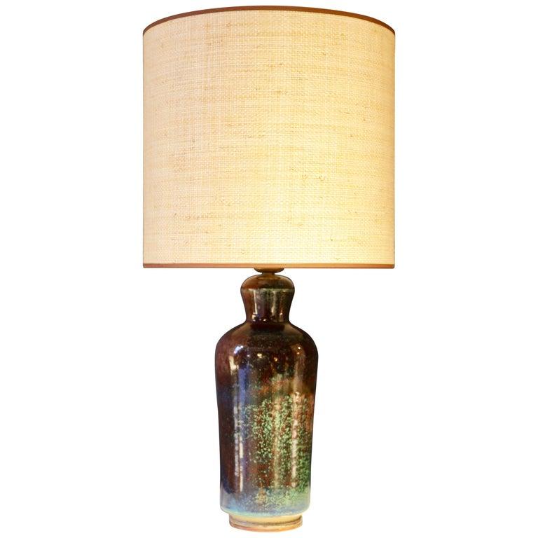Berndt Friberg, Glazed Stoneware Table Lamp, Gustavsberg Studio, Sweden, 1960s For Sale