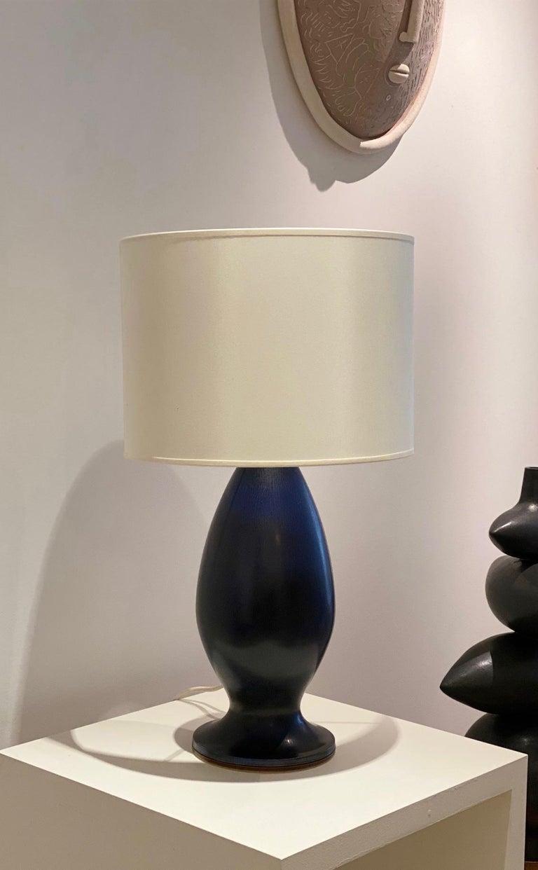Swedish Berndt Friberg Large Stoneware Dark Blue Table Lamp, 1960s For Sale