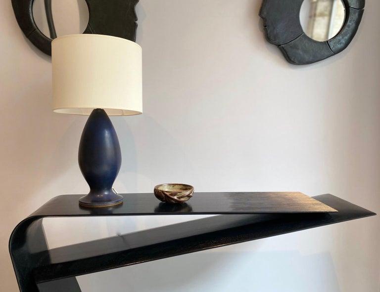Mid-20th Century Berndt Friberg Large Stoneware Dark Blue Table Lamp, 1960s For Sale