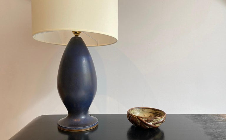 Ceramic Berndt Friberg Large Stoneware Dark Blue Table Lamp, 1960s For Sale