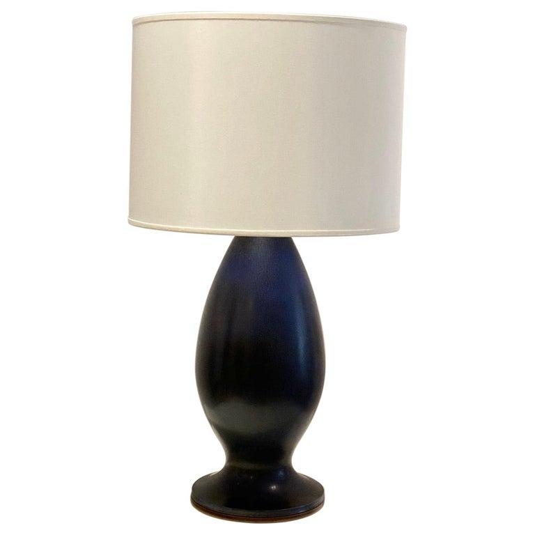 Berndt Friberg Large Stoneware Dark Blue Table Lamp, 1960s For Sale