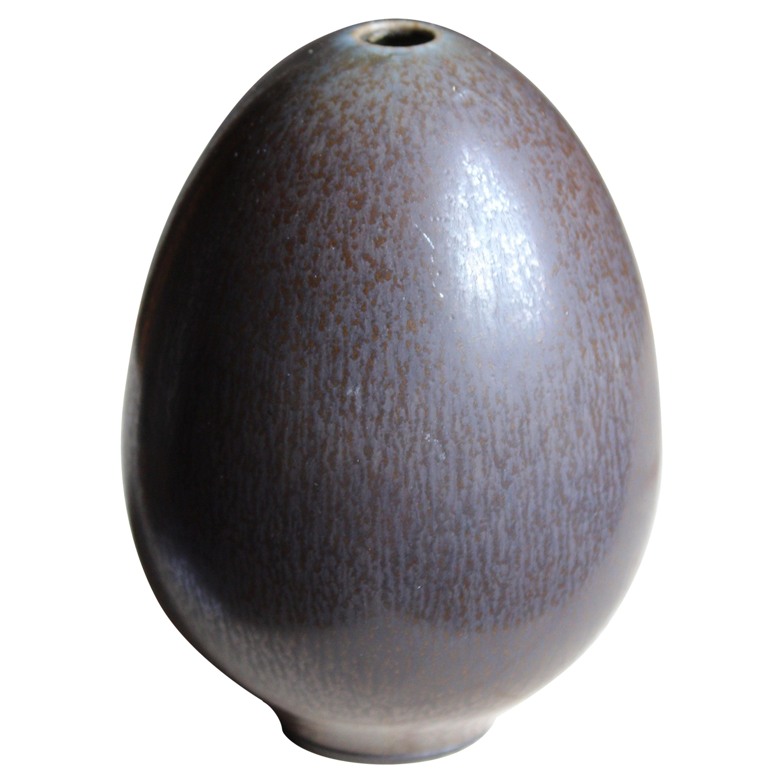 Berndt Friberg Small Vase / Sculpture, Grey-Glazed Stoneware, Gustavsberg, 1960s