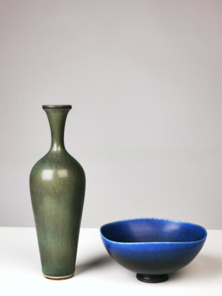 Berndt Friberg, stoneware vaseand bowl, harpel glazed, signed Friberg, Gustavsberg Studiohand. Sweden, 1969. Excellent condition.