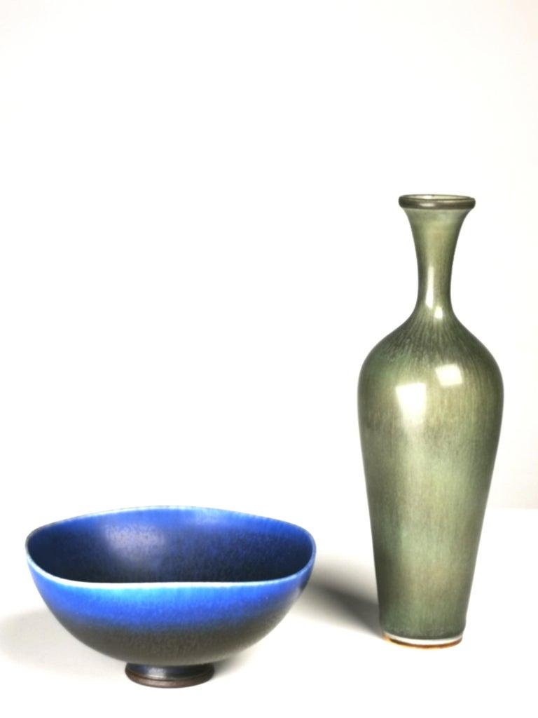 Scandinavian Modern Berndt Friberg, Stoneware Vase and Bowl, Gustavsberg, Sweden, 1960s For Sale