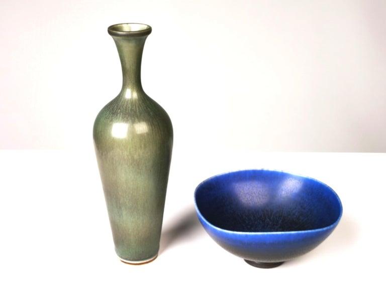 Swedish Berndt Friberg, Stoneware Vase and Bowl, Gustavsberg, Sweden, 1960s For Sale