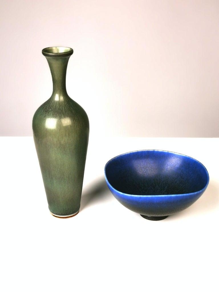 Glazed Berndt Friberg, Stoneware Vase and Bowl, Gustavsberg, Sweden, 1960s For Sale