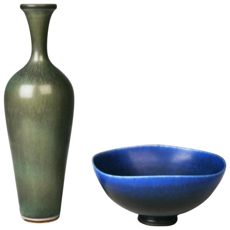 Berndt Friberg, Stoneware Vase and Bowl, Gustavsberg, Sweden, 1960s For Sale