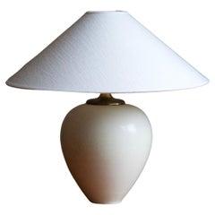 Berndt Friberg, Table Lamp, White-Glazed Stoneware, Brass, Gustavsberg, 1960s