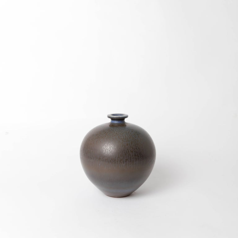 Unique stoneware vase by Berndt Friberg for Gustavsberg 1968 with harefur glaze.