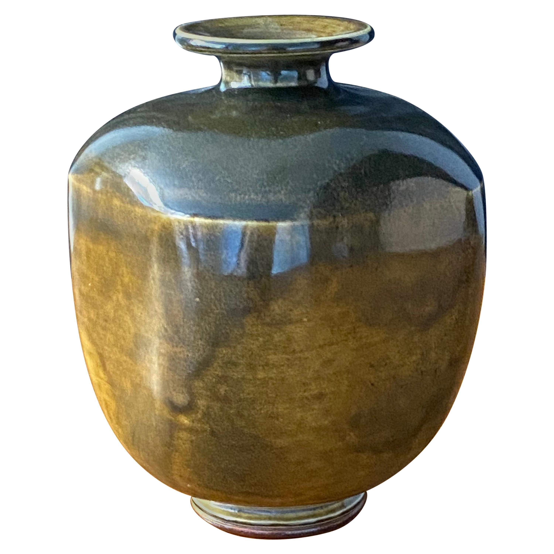 Berndt Friberg Vase, Black Brown Glazed Stoneware, Gustavsberg, 1976
