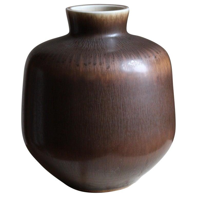 Berndt Friberg Vase, Brown Glazed Stoneware, Gustavsberg, 1960s For Sale