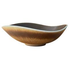 Berndt Friberg Vase, Organic Bowl, Brown Glazed Stoneware, Gustavsberg, 1970s