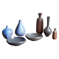 Berndt Friberg Vases and Bowls, Glazed Stoneware, Gustavsberg, 1960s