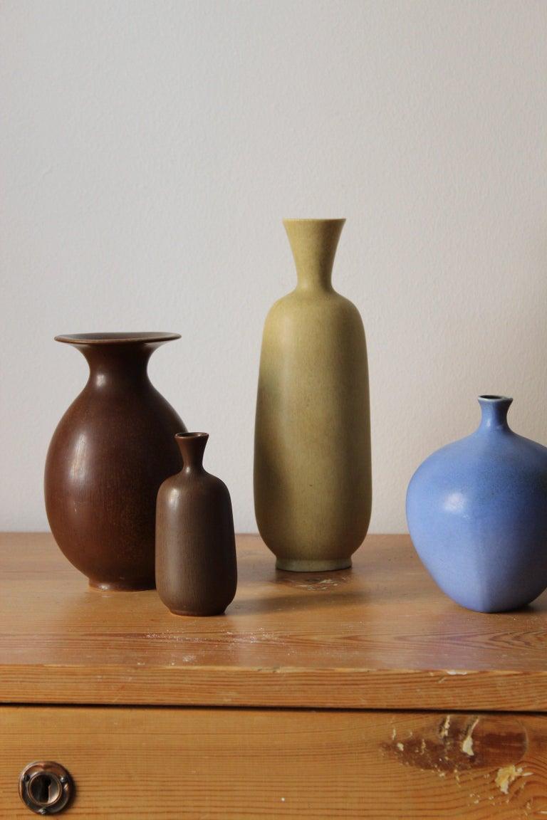 Swedish Berndt Friberg, Vases, Glazed Stoneware, Gustavsberg, 1960s For Sale