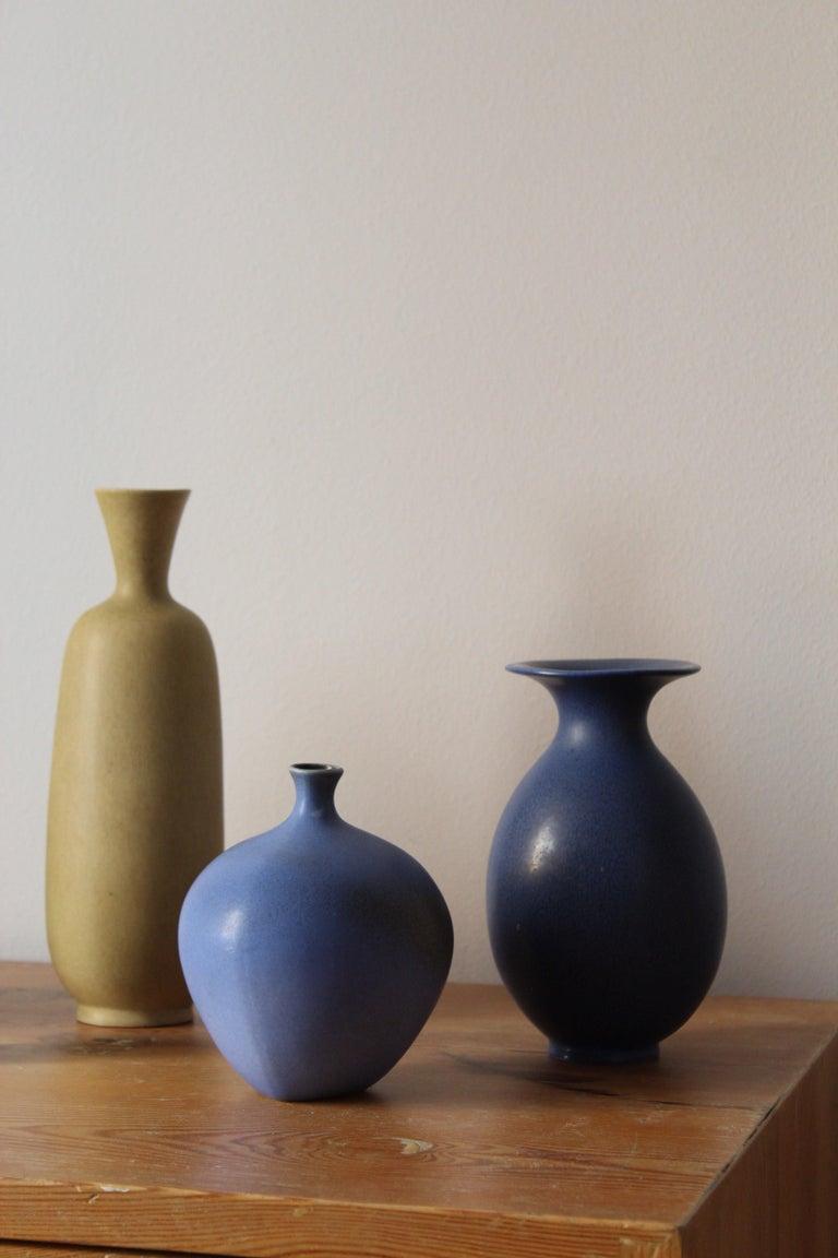 Mid-20th Century Berndt Friberg, Vases, Glazed Stoneware, Gustavsberg, 1960s For Sale