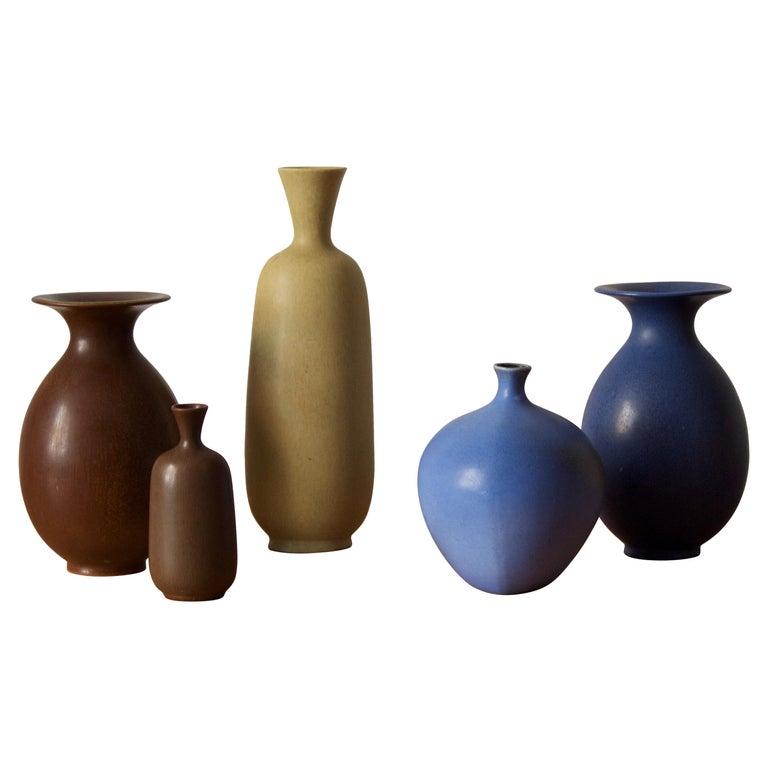 Berndt Friberg, Vases, Glazed Stoneware, Gustavsberg, 1960s For Sale