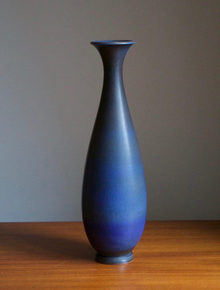 Designed by Berndt Friberg for the Swedish firm Gustavsberg. Features the hare's fur glaze iconic to Friberg. This example is very large in the context of the vast majority of Friberg's works produced, which are usually intimate in scale.   Other