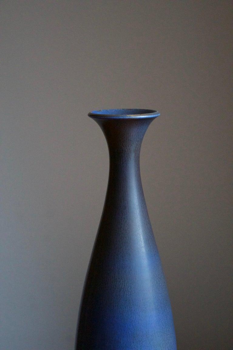 Mid-Century Modern Berndt Friberg, Very Large Vase, Blue-Glazed Stoneware, Gustavsberg, 1960s For Sale