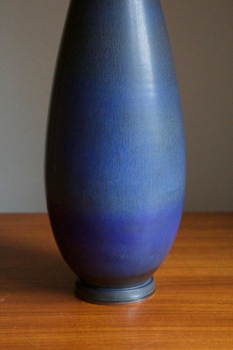 Swedish Berndt Friberg, Very Large Vase, Blue-Glazed Stoneware, Gustavsberg, 1960s For Sale