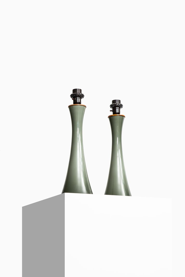 Pair of table lamps designed by Berndt Nordstedt. Produced by Bergbom in Sweden.